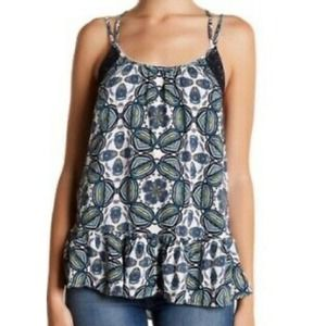 Melrose and Market tank top printed lace trim